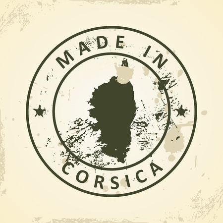 corsica: Grunge stamp with map of Corsica - vector illustration