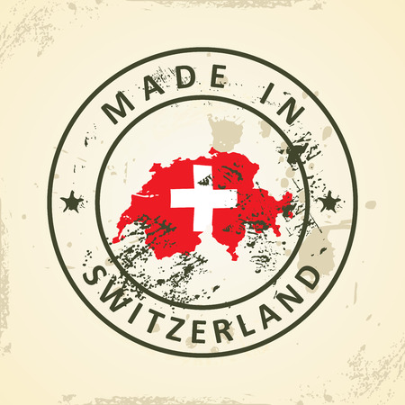 swiss insignia: Grunge stamp with map flag of Switzerland - vector illustration Illustration
