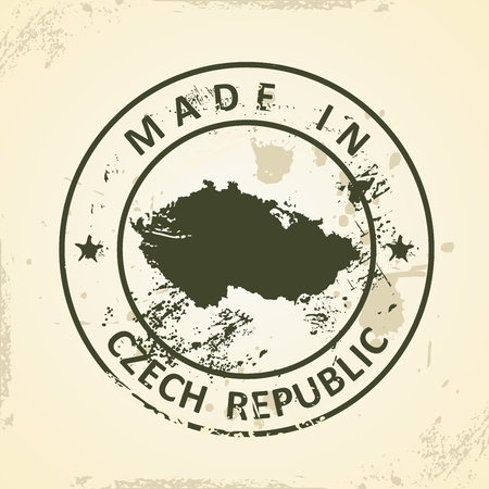 the czech republic: Grunge stamp with map of Czech Republic - vector illustration