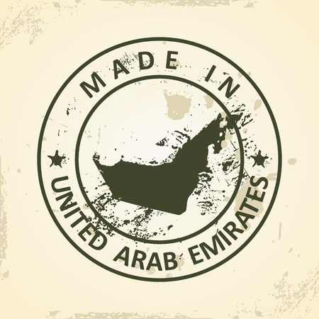 graphical chart: Grunge stamp with map of United Arab Emirates - vector illustration