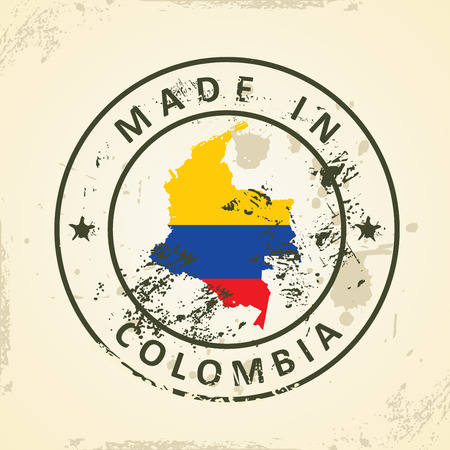 republic of colombia: Grunge stamp with map flag of Colombia - vector illustration Illustration