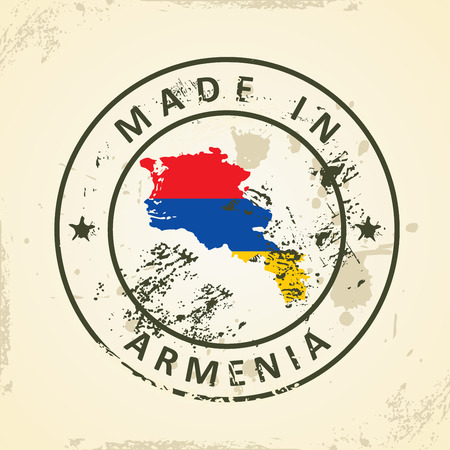 editable eastern asia: Grunge stamp with map flag of Armenia - vector illustration