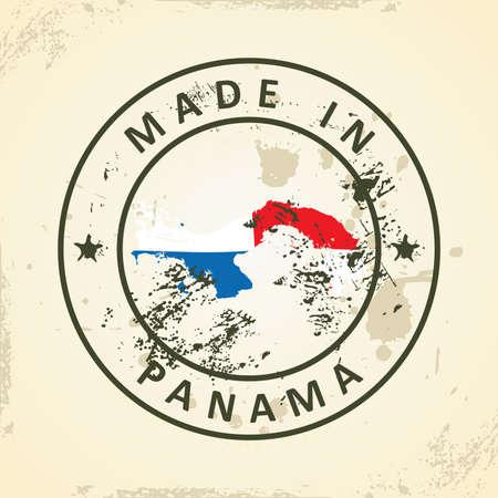 bandera de panama: Grunge sello con mapa de la bandera de Panamá - ilustración vectorial