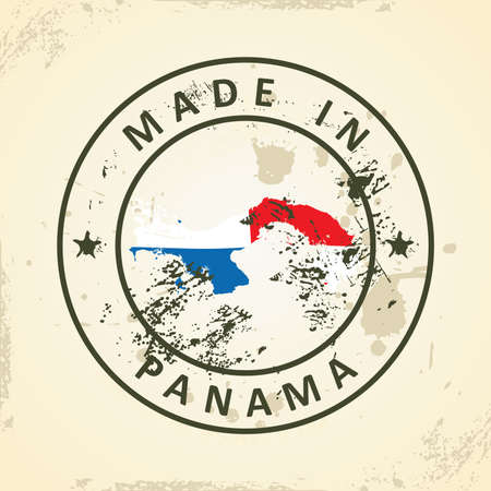 bandera panama: Grunge stamp with map flag of Panama - vector illustration Vectores