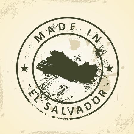 mapa de el salvador: Grunge sello con mapa de El Salvador - ilustraci�n vectorial