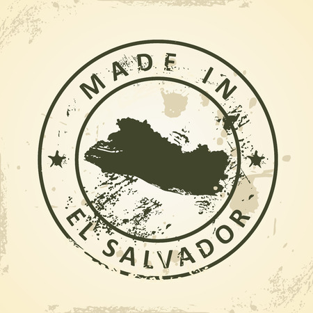 mapa de el salvador: Grunge stamp with map of El Salvador - vector illustration