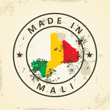 mali: Grunge stamp with map flag of Mali - vector illustration Illustration