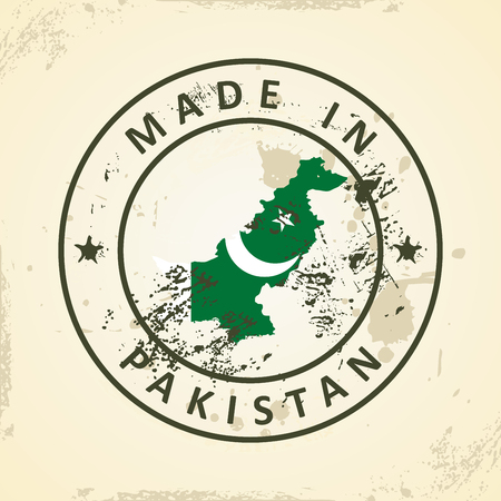 islamabad: Grunge stamp with map flag of Pakistan - vector illustration