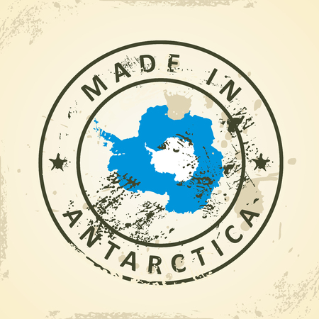 antarctica: Grunge stamp with map flag of Antarctica - vector illustration