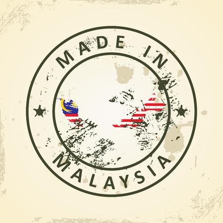 er: Grunge stamp with map flag of Malaysia - vector illustration Illustration