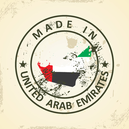 graphical chart: Grunge stamp with map flag of United Arab Emirates - vector illustration