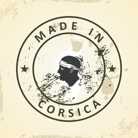 corsica: Grunge stamp with map flag of Corsica - vector illustration