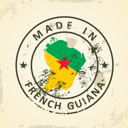 guiana: Grunge stamp with map flag of French Guiana - vector illustration Illustration