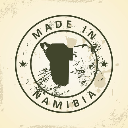 namibia: Grunge stamp with map of Namibia - vector illustration