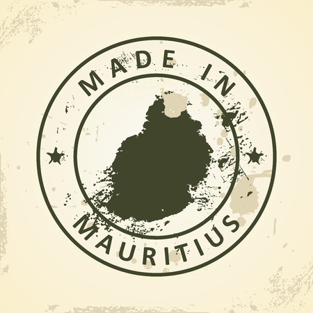 creole: Grunge stamp with map of Mauritius - vector illustration Illustration