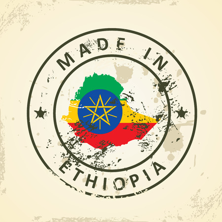 ethiopia abstract: Grunge stamp with map flag of Ethiopia - vector illustration Illustration