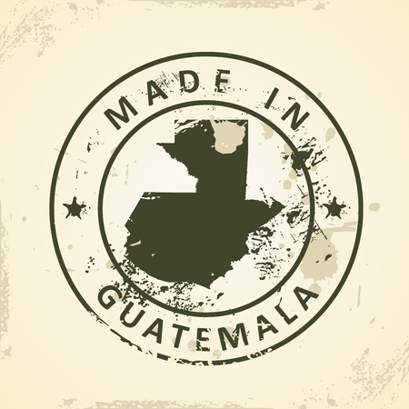 Grunge stamp with map of Guatemala - vector illustration
