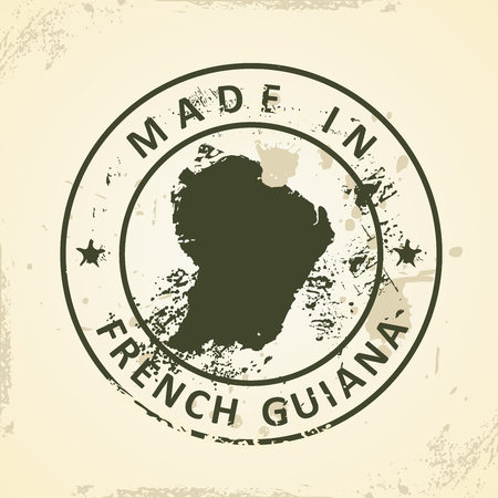 guiana: Grunge stamp with map of French Guiana - vector illustration Illustration