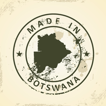 graphical chart: Grunge stamp with map of Botswana - vector illustration