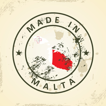 maltese map: Grunge stamp with map flag of Malta - vector illustration