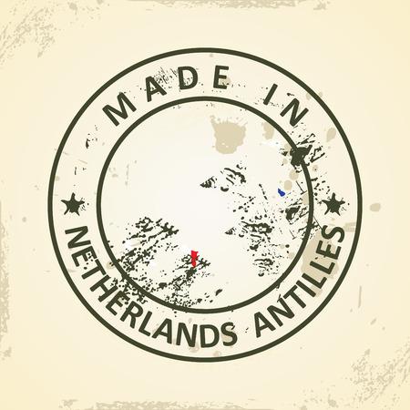 antilles: Grunge stamp with map flag of Netherlands Antilles - vector illustration