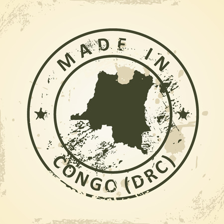 shilouette: Grunge stamp with map of Congo (DRC) - vector illustration Illustration