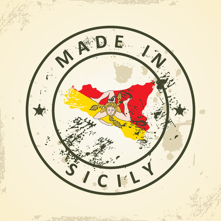 Grunge stamp with map flag of Sicily - vector illustration