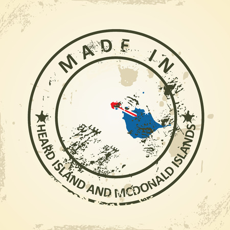 heard: Grunge stamp with map flag of Heard Island and McDonald Islands - vector illustration