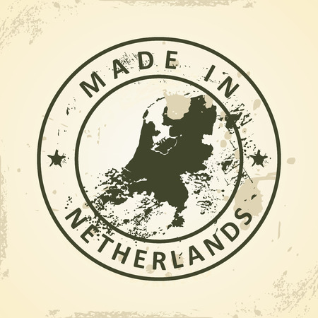 graphical chart: Grunge stamp with map of Netherlands - vector illustration Illustration
