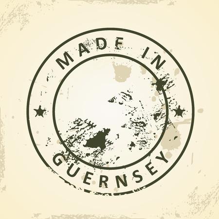 guernsey: Grunge stamp with map of Guernsey - vector illustration Illustration