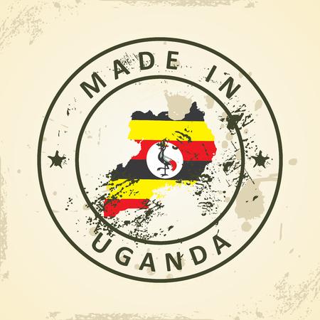 graphical chart: Grunge stamp with map flag of Uganda - vector illustration Illustration