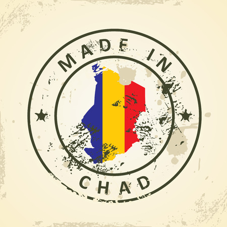 chadian: Grunge stamp with map flag of Chad - vector illustration Illustration