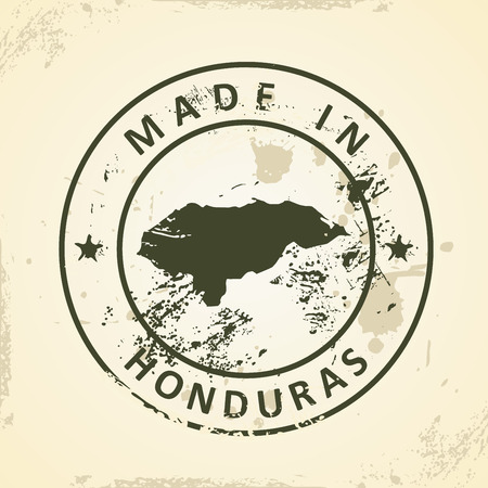 toltec: Grunge stamp with map of Honduras - vector illustration
