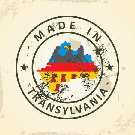 transylvania: Grunge stamp with map flag of Transylvania - vector illustration