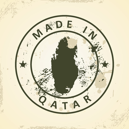 southwest asia: Grunge stamp with map of Qatar - vector illustration