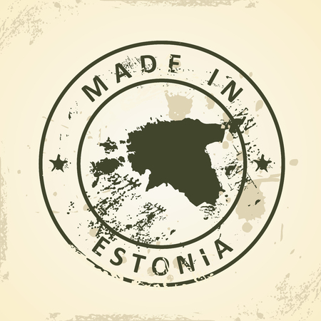 shilouette: Grunge stamp with map of Estonia - vector illustration