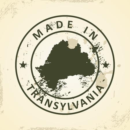 transylvania: Grunge stamp with map of Transylvania - vector illustration