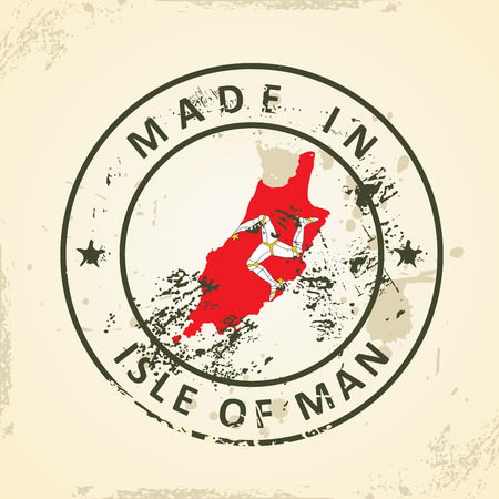 british isles: Grunge stamp with map flag of Isle of Man - vector illustration Illustration