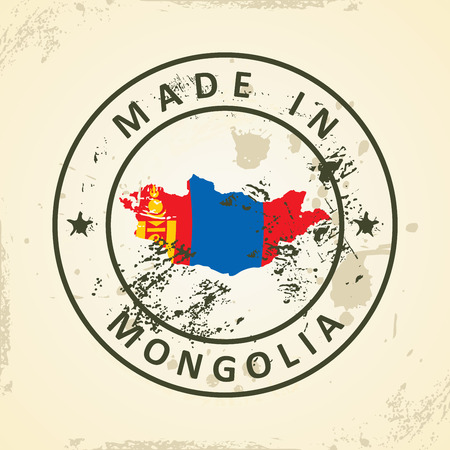 mongol: Grunge stamp with map flag of Mongolia - vector illustration Illustration