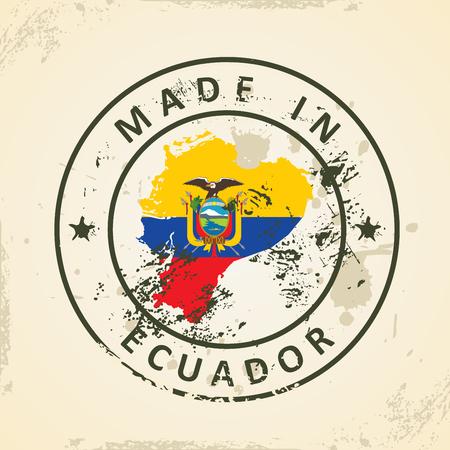 republic of ecuador: Grunge stamp with map flag of Ecuador - vector illustration
