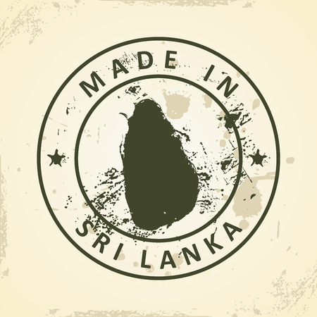 colombo: Grunge stamp with map of Sri Lanka - vector illustration