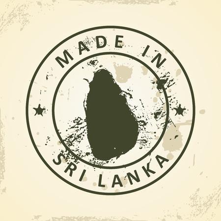 colombo: Grunge stamp with map of Sri Lanka - vector illustration