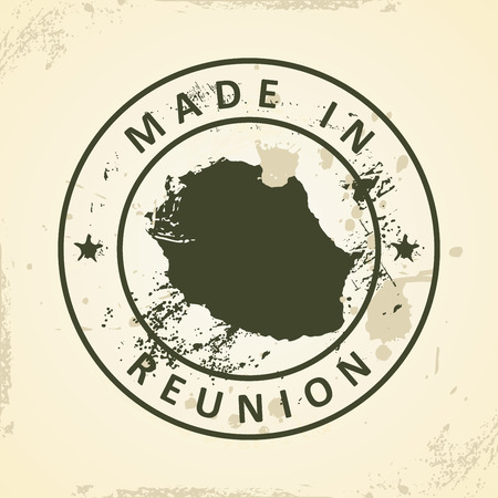 reunion: Grunge stamp with map of Reunion - vector illustration