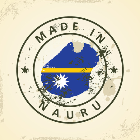 nauru: Grunge stamp with map flag of Nauru - vector illustration