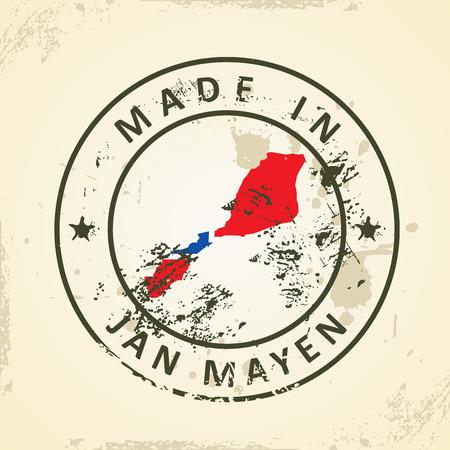 jan: Grunge stamp with map flag of Jan Mayen - vector illustration Illustration