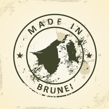map of brunei: Grunge stamp with map of Brunei - vector illustration