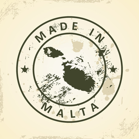 map malta: Grunge stamp with map of Malta - vector illustration