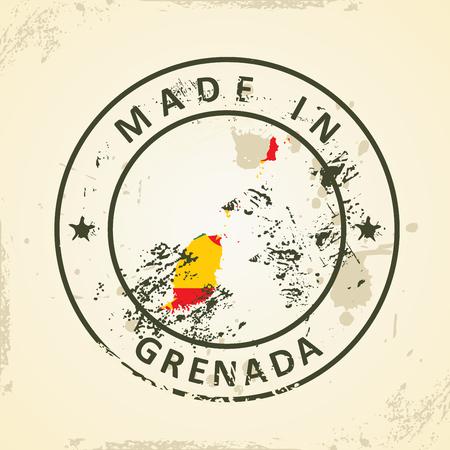 grenada: Grunge stamp with map flag of Grenada - vector illustration