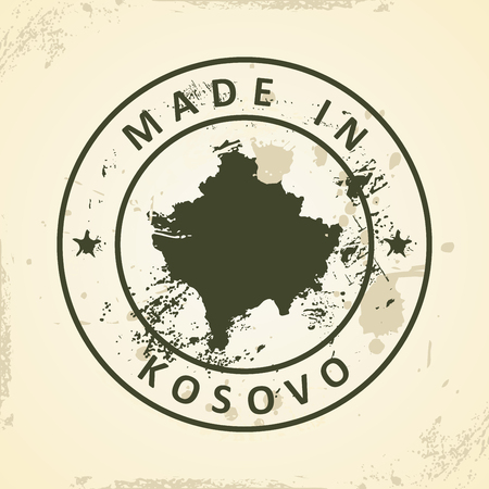 pentacle: Grunge stamp with map of Kosovo - vector illustration