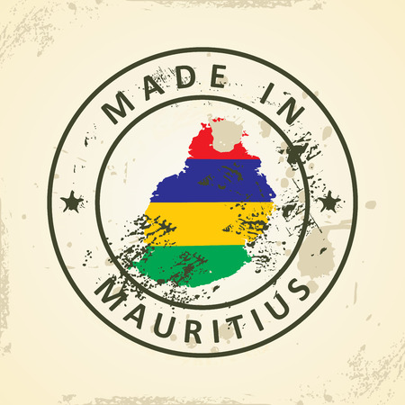 creole: Grunge stamp with map flag of Mauritius - vector illustration Illustration